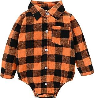 Newborn Baby Boy Girls Plaid Clothes Button Down Plaid Flannel Romper Casual Bodysuit Blouse Outfit