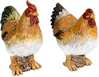 Rooster and Hen Chickens 5 Inch Resin Decorative Tabletop Figurines Set of 2