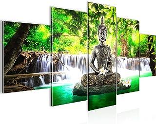 Cuadro en LienzoBuda Feng Shui 200 x 100 cm - XXL Impresión Material Tejido no Tejido Artística Imagen Gráfica Decoracion de Pared -5 piezas - Listo para colgar -503551a