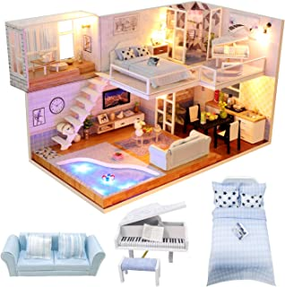Dollhouse Miniature Room Kit - DIY Mini Doll House with Furniture Accessories and Music Movement,1:24 Scale Creative Room ...