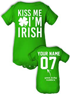 Babies' Custom Saint Patrick's Day Shirts - Add Name & Number - Cotton Onesies