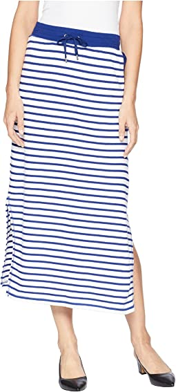 Striped French Terry Maxi Skirt