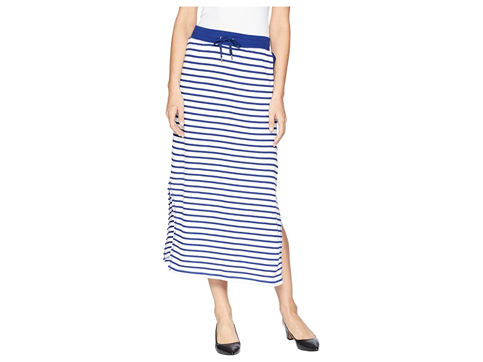 LAUREN Ralph Lauren Striped French Terry Maxi Skirt (Soft White/True Sapphire) Women