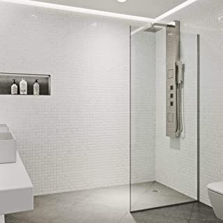 VIGO Zenith Clear 34-inch Frameless Fixed Glass Panel Shower Screen