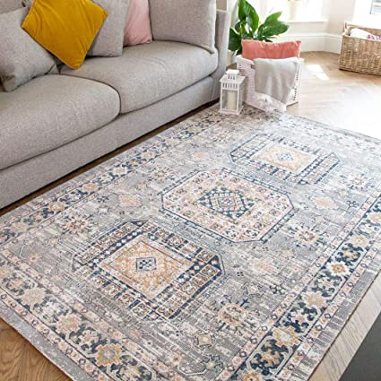 Traditional Vintage Navy Grey Distressed Medallion Moroccan Rug Classic Boho Antique Soft Flat Woven Living Room Area Bedroom Hallway Rugs 160cm X 230cm Amazon Co Uk Kitchen Home