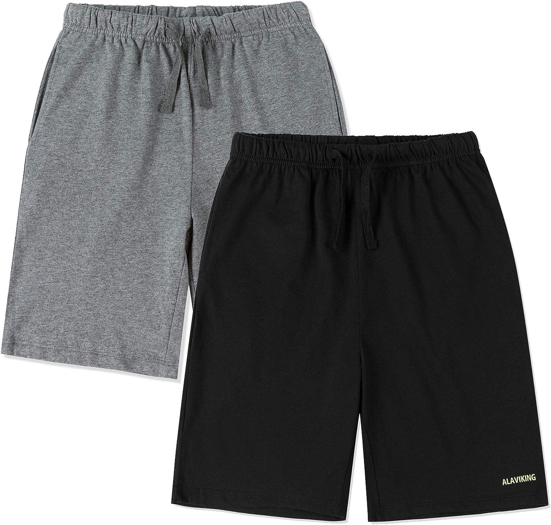 ALAVIKING Kids 1 or 2 Pack 100% Cotton Shorts Drawstring Elastic Waist Sweat Shorts for Boys or Girls 3-12 Years
