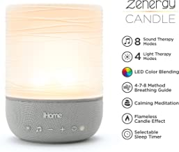 iHome Zenergy Meditative Light & Sound Therapy Candle, Breathe, Sleep and Relax with Adjustable, Customizable Sounds and Lighting (Gray)