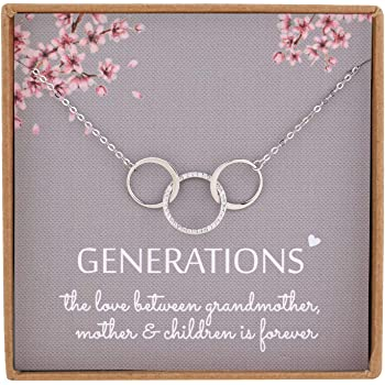 NOURISHLOV Generations Necklace for Grandma Gifts - Sterling Silver Interlocking 3 Circles CZ Necklace for Grandmother from Grandchild,Nana Gifts for Mothers Day