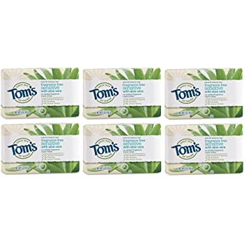 Tom's of Maine Natural Beauty Bar Soap with Aloe Vera, Floral, Frangrance Free, 5 Ounce (Pack of 6)