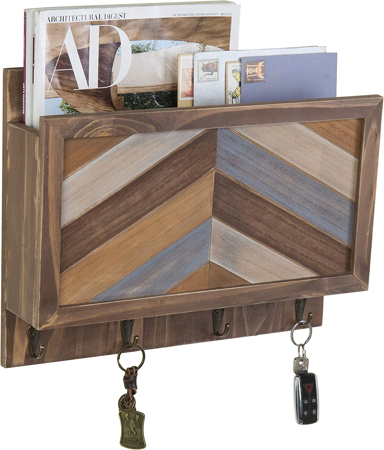 Brand new MyGift Rustic Chevron Wood Wall Mounted Entryway Organizer with Long-awaited