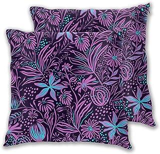 ALLMILL Juego de 2 Decorativo Funda de Cojín,Hermosos Patrones de Flores de Vid de Hojas púrpuras Azules y violetas,Funda de Almohada Cuadrado para Sofá Cama