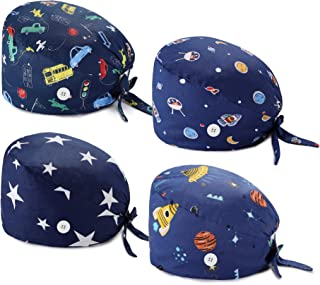 4 Pcs Gourd-Shaped Working Caps with Upgrade Sweatband Adjustable Hats Head Cover- Women/Men