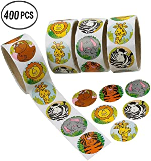 WedFeir Zoo Animal Sticker Roll for Kids, 400pcs Assorted Stickers for Party Favors, Game Prizes, Novelty Toys, Wall Decal...