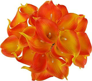 EZFLOWERY 20 Artificial Calla Lily Flowers Real Touch Latex Arrangement Bouquet Wedding Centerpiece Room Office Party Home Decor, Excellent Gift Idea (Small - 20 Pack, Red Yellow)