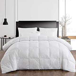 Maple Down Goose Down Comforter King Size Duvet Insert, All Season White Luxurious Quilted Comforter with Corner Tab, Lightweight & Warm
