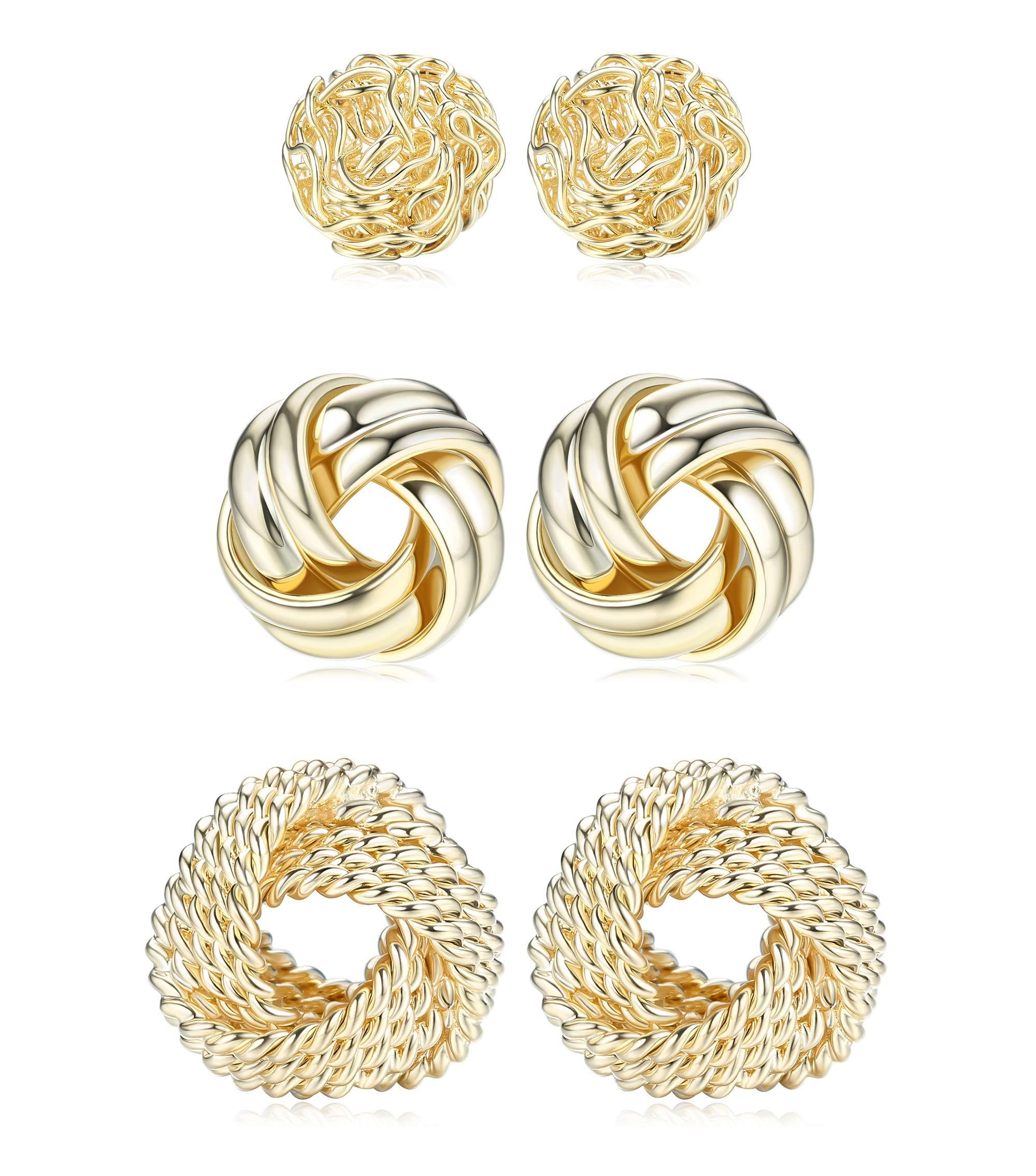 FIBO STEEL 3 Pairs Gold Love Knot Earrings For Women Men 14K Gold Plated Woven Ball Stud Earrings Simple Post earrings For Women