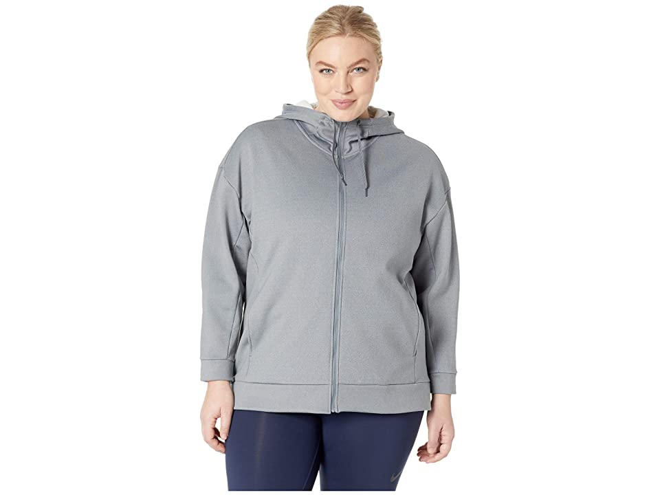 Nike Therma All Time Full Zip Hoodie (Sizes 1X-3X) (Cool Grey/Heather/White) Women