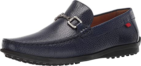 MARC JOSEPH NEW YORK Mens Grainy Leather Carneige Hill Buckle Loafer, Navy, 9.5 M US
