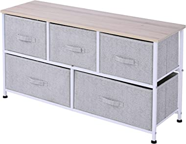 HOMCOM Commode Meuble de Rangement dim. 100L x 30l x 54H cm 5 tiroirs Non-tissés Gris Structure Acier Blanc Plateau MDF Bois