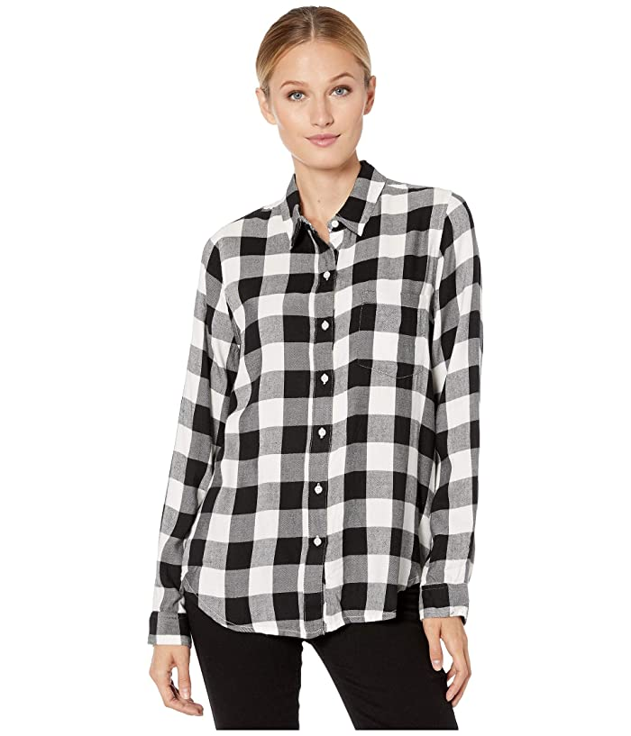 Lucky Brand  Classic One-Pocket Plaid Shirt (Black Multi) Womens Clothing