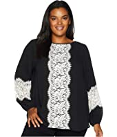 Plus Size Contrast Lace Top