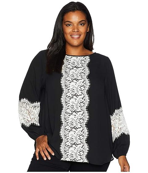 KAREN KANE PLUS Plus Size Contrast Lace Top, Black