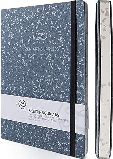 ZenART skórzany szkicownik dla artystów, 160 pustych stron, 120 gSM, bezkwasowy papier kość słoniowa – B5 18 x 24 cm, płas...