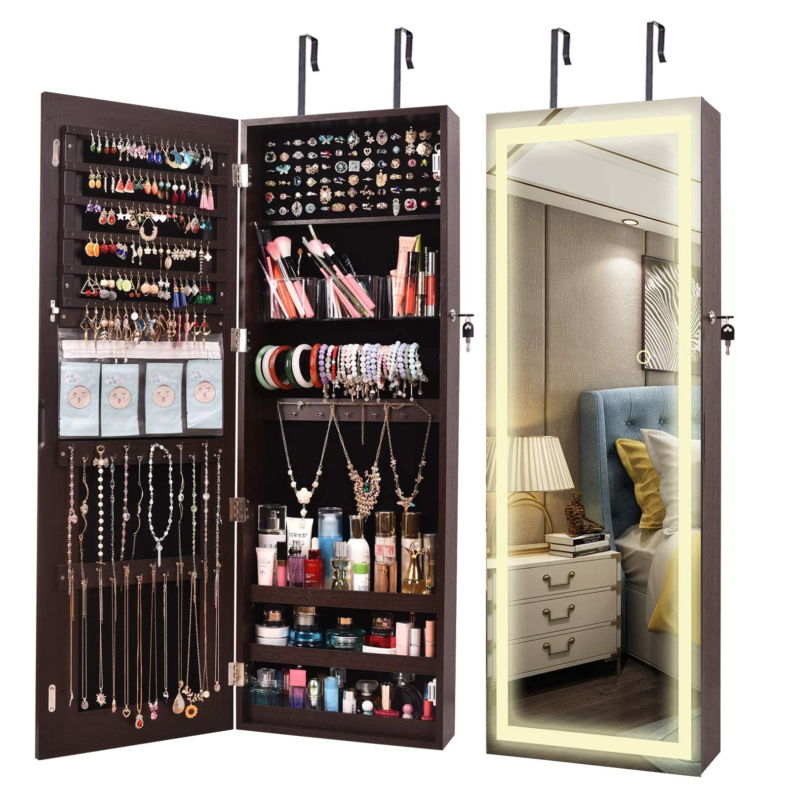 ORAF LED Wall Door Mirror Full Length Jewelry Cabinet Armoire ...