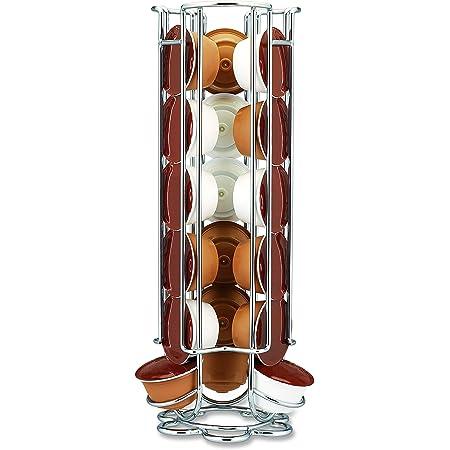 Fackelmann 20990 Distributeur de capsules Dolce Gusto, porte capsules de café, distributeur de capsules à café, porte capsules de café Dolce Gusto, Fil chromé, Argenté, 32,7 cm