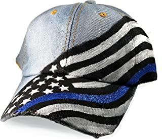 Thin Blue Line Women's Hand Painted Hat