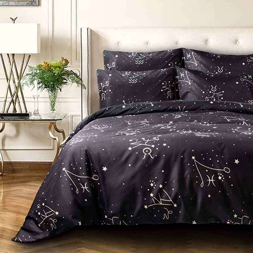NTBAY 3 Pieces Duvet Cover Set, Brushed Microfiber, Constellation Patterns Printed, Bedding, Black Constellation, Queen