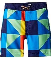 Allover Multicolored Square Print Swim Trunks (Toddler/Little Kids/Big Kids)