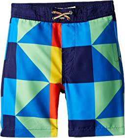 Allover Multicolored Square Print Swim Trunks (Toddler/Little Kids/Big Kids)