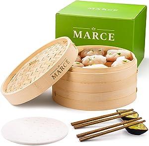 Marce Bamboo Steamer - Steamer for Cooking, Steamer Basket, Dumpling Steamer, Bun Steamer, Dim Sum Steamer, Bao Steamer   Bamboo Steamer Basket, Bamboo Steamer 10 inch, Bamboo Basket, Steam Basket