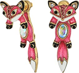 Betsey Johnson - Pink and Gold Fox Front Back Earrings