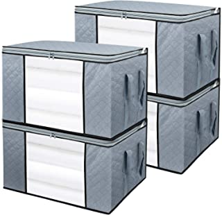 BoxLegend Sac de Rangement sous lit, Kit 4 Pcs Sacs de Rangement pour Couette Édredons Couvertures Oreillers Jouets Vêteme...