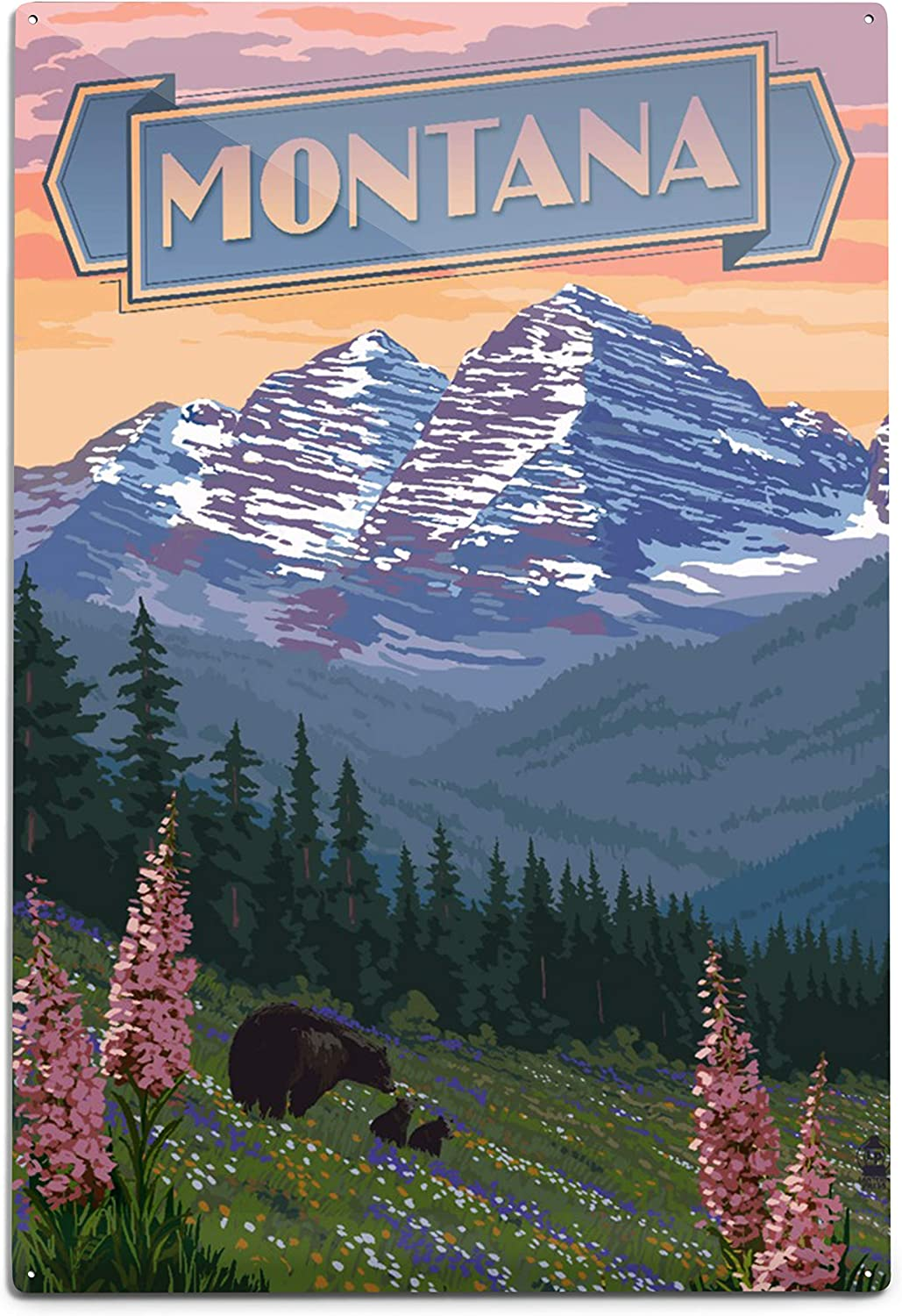 Max 58% OFF Montana Banner Bear and Spring 12x18 Flowers 94050 Wa Aluminum Super Special SALE held
