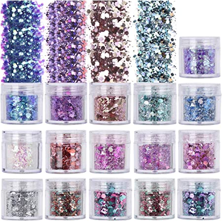 6mm light green HOLOGRAPHIC sparkly CHUNKY HEXAGON glitter new rainbow crafts hair face body nail glitter