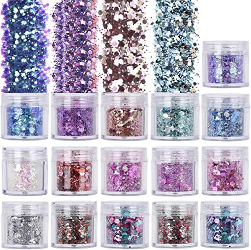16 Colors 10ml Holographic Chunky Glitter, TEOYALL Face Body Nail Art Cosmetic Glitter Craft Festival Chunky Fine Mix...