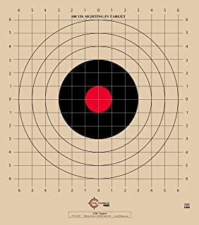 CHLTargets.com ST-3, 100 Yard, Rifle Sighting Target, 1 Inch Grid, Tag Board Paper