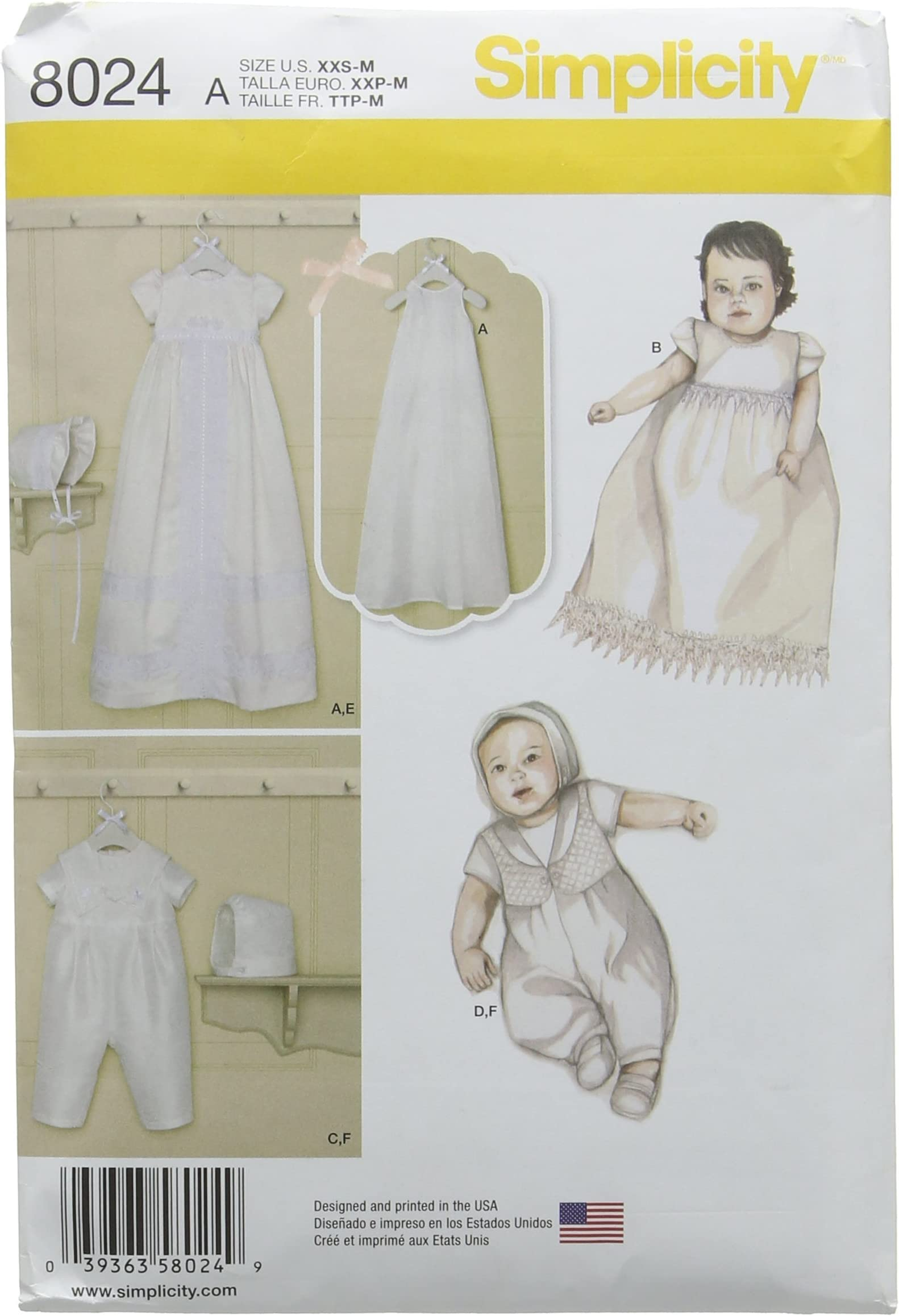 Vogue 2878 1474 1970s Infant Christening Gown Dress Coat Bonnet Pillow Sham Blanket Pattern Embroidery Transfer Sewing Pattern Size New Born