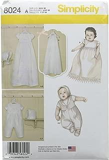 Simplicity Patterns Babies' Christening Sets with Bonnets Size: A (XXS-Xs-S-M), 8024