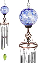 Exhart Solar Blue Honeycomb Pearlized Glass Ball Wind Chimes - Honeycomb Ball Metal Wind Chimes w/LED Outdoor Lights – Honeycomb Glass Globe Bronze Finial 4.9