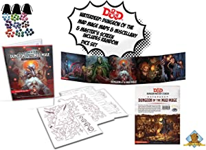 Dungeons and Dragons: Waterdeep Dungeon of The Mad Mage/Dungeon Master's Screen Also Comes with Gold Groundhog Dice Set!
