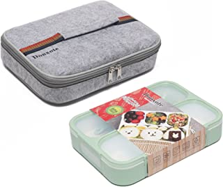 Donxote Bento Boxes Set - 4 Compartments Leakproof Sealing Bento Box 1000ml - BPA-Free Microwave and Dishwasher Safe - with Spoon & Lunch Bag (Green)