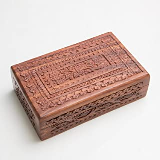 Rusticity Wood Jewelry Box Carved | Handmade | (8x5in)