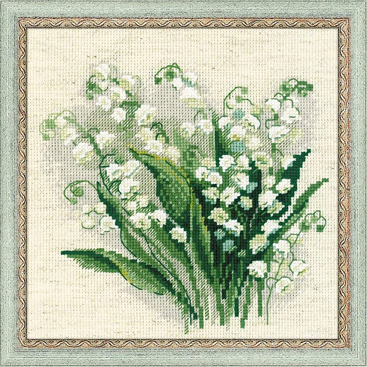 RIOLIS 14 Count Lilly of The Valley Counted Cross Stitch Kit, 8 x 8