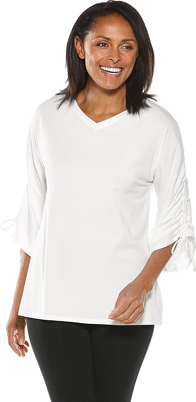 Coolibar UPF 50+ Women's Ruche Sleeve Top  Sun Predective