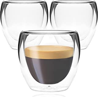 Youngever 3 Pack Espresso Cups, Double Wall Thermo Insulated Espresso Cups, Glass Coffee Cups, 5 Ounce (Tall)