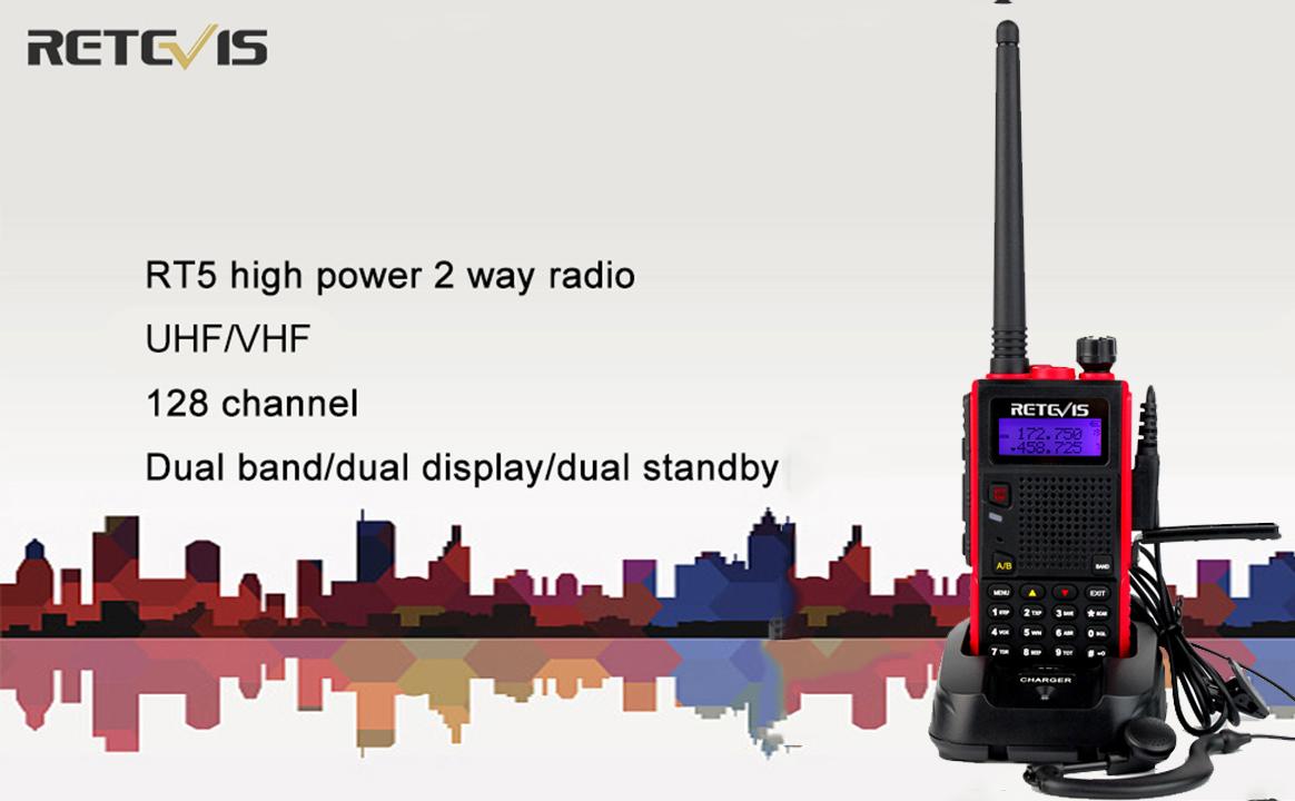 Retevis RT5 Long Range Walkie Talkies Dual Band VHF//UHF 128 CH VOX FM Two Way Radio USA7024A@5-C9001A@5 2 Pack